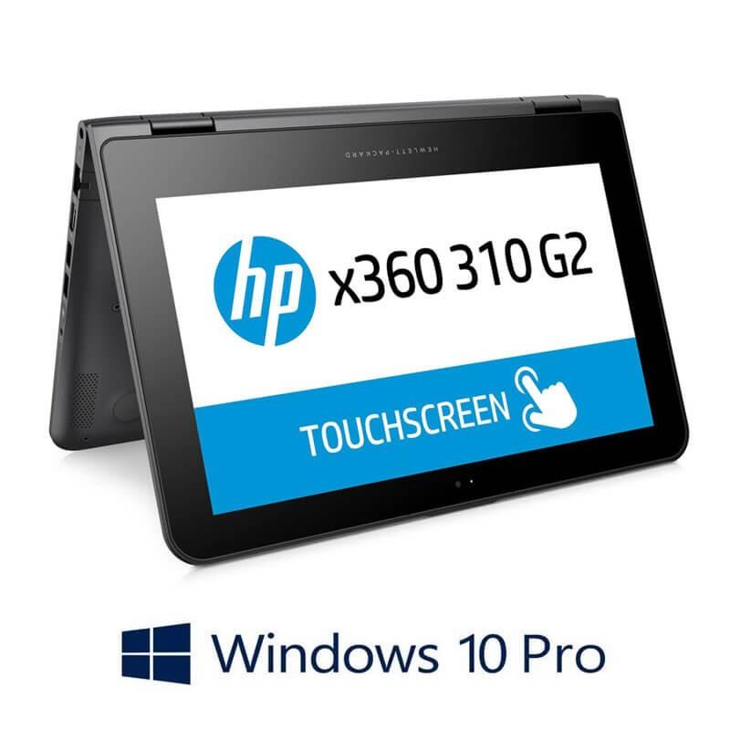 Laptop Touchscreen HP x360 310 G2, Quad Core N3700, SSD, IPS, Webcam, Win 10 Pro